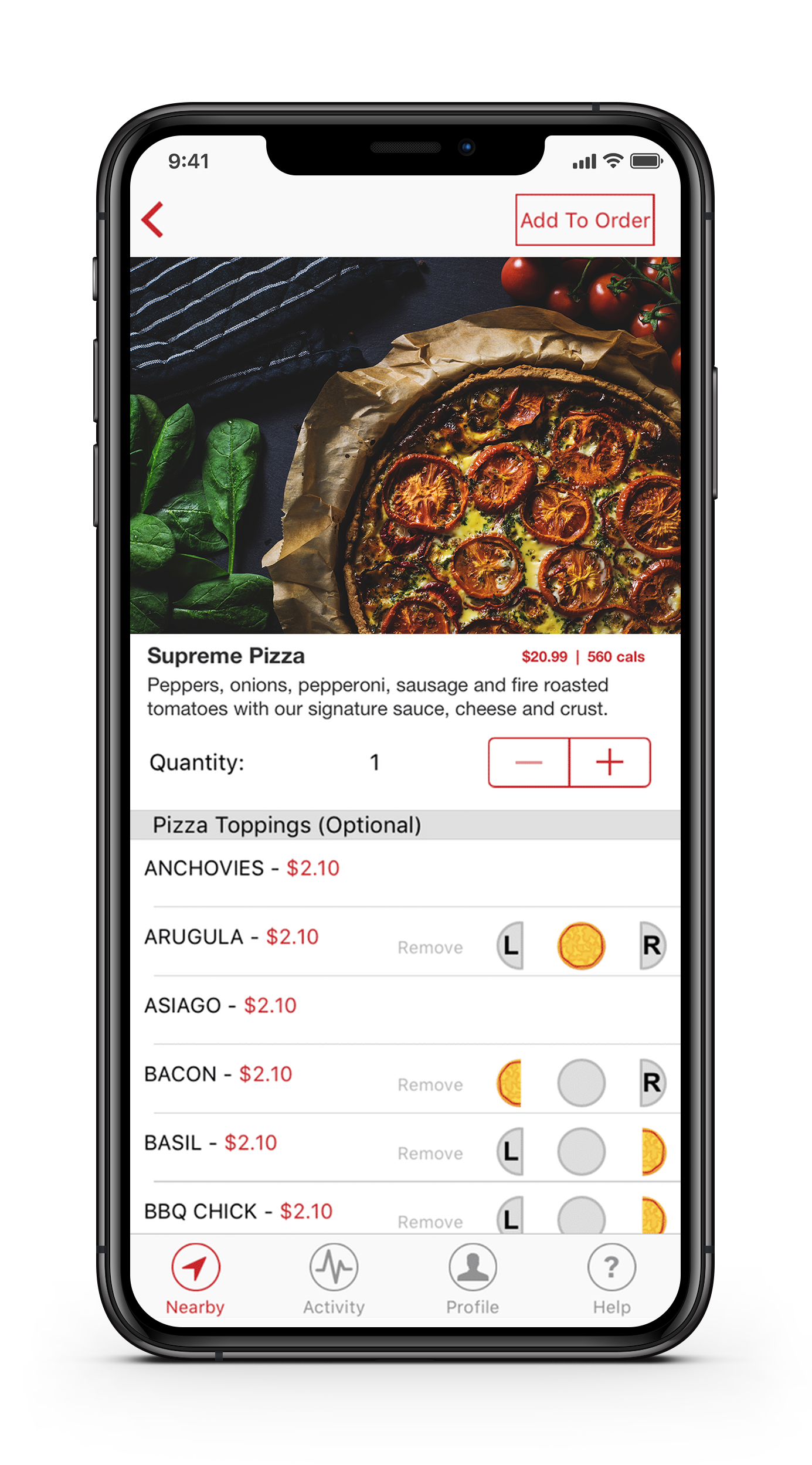 food order being made on cell phone app